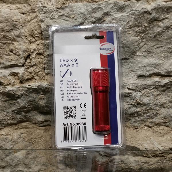 Taskulamp 9 LED punane - patareideta