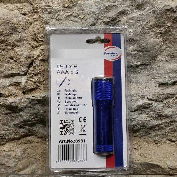Taskulamp 9 LED sinine - patareideta