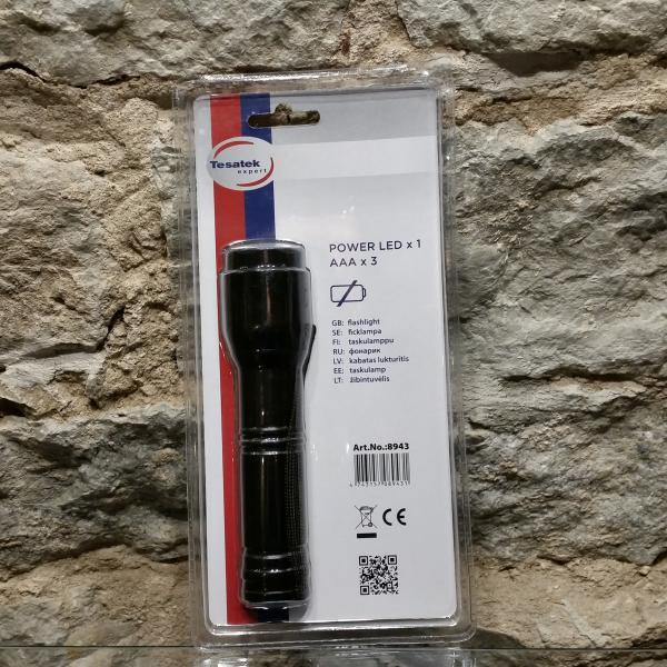 Taskulamp 1 LED must - patareideta