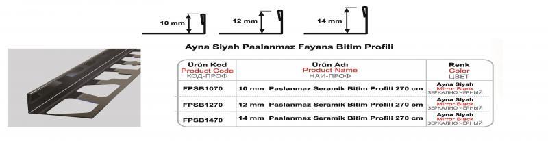 10 MM Roostevaba lõpuliist 270cm (Must peegel)