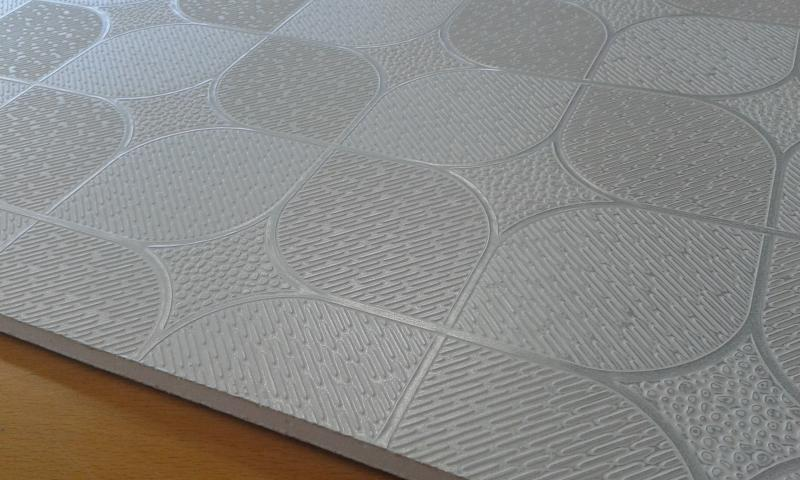 PVC'ga kaetud kipsplaat  30x60x0,8cm (küre gri9