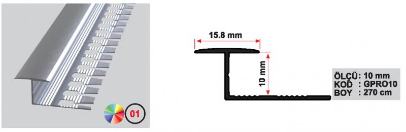 10 MM Alumiinium ovaalne ülemineku profiil 270cm (Matt anod.)