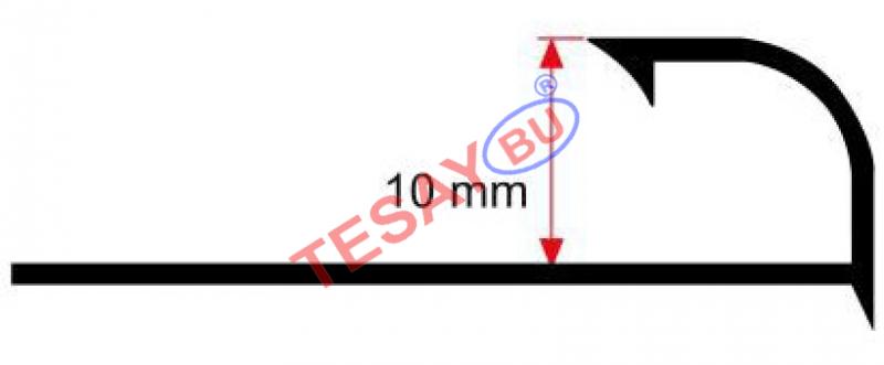 10 MM Alumiinium välisnurgaliist 2,7m (Läikiv kroom)
