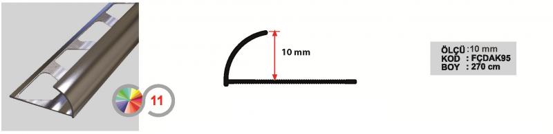 10 MM Alumiinium välisnurgaliist 270cm (Hele kroom)