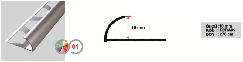 10 MM Alumiinium välisnurgaliist 270cm (Matt anod.)