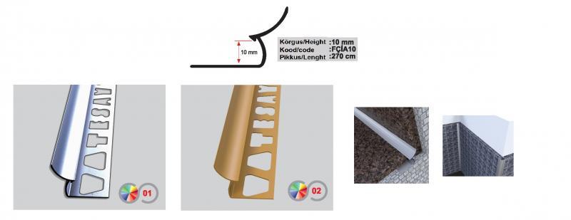 10 MM Alumiinium sisenurgaliist 2,7m (Läikiv kroom)