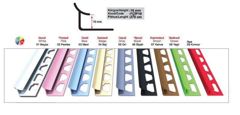 10 MM PVC sisenurgaliist 270cm ( Must )