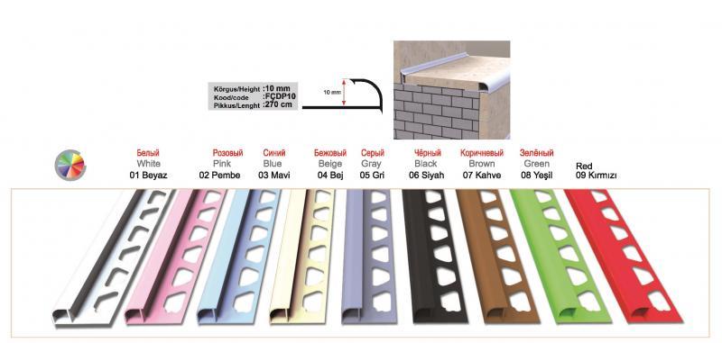 10 MM PVC välisnurgaliist 270cm ( Roosa )