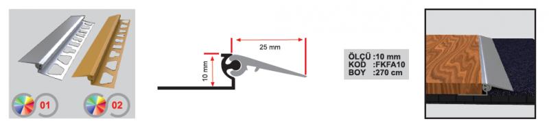 10 MM Alumiinium muudetava kõrgusega üleminekuliist 270cm (Kollane anod.)