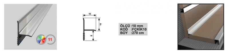10 MM Alumiinium sisenurgaliist T-profiil  (Hele kroom)
