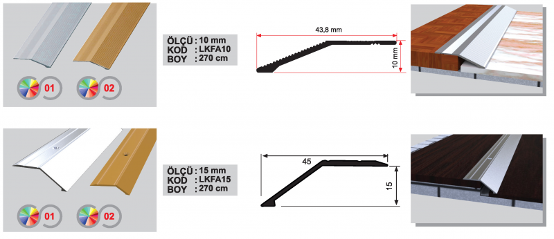10 MM Alumiinium ülemineminekuliist laminaadile (Kollane anod.)