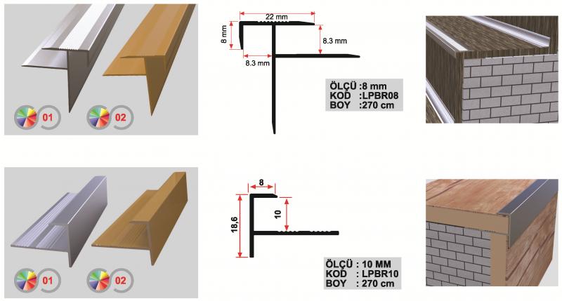 10 MM Alumiinium astmeliist laminaadile 270cm (vahega) (Matt anod.)