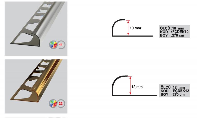 10 MM Eco Alumiinium välimine profiil 2,7m (Läikiv kroom)