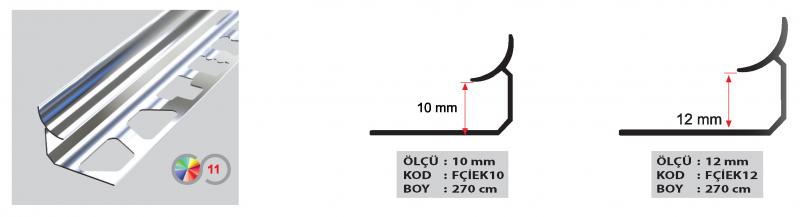 10 MM Eco Alumiinium sisemine profiil 2,7m (Läikiv kroom)