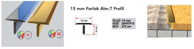 15 MM Alumiinium T profiil 270cm (Hele kroom)