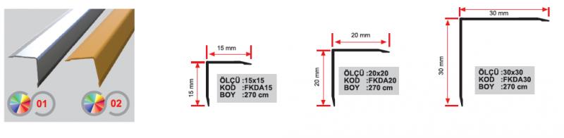 15X15 MM Alumiinium L profiil 270cm (Kollane anod.)