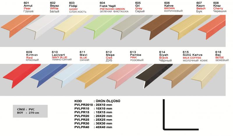 20X20 MM PVC L profiil 270cm ( Must )