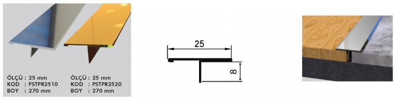 25 MM Roostevaba T profiil 270 cm (Hele Kuldne)