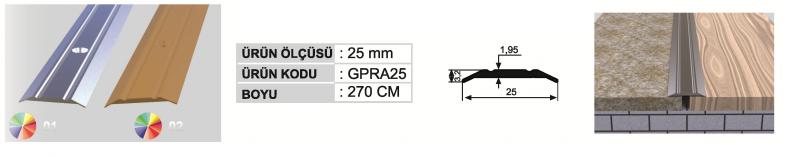 25 MM Alumiinium üleminekuliist kruviaukudega 270cm (Kollane anod.)