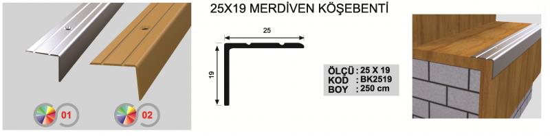 25X19 MM Alumiinium astmeliist 250cm (Kollane anod.)