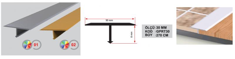 30 MM Alumiinium T profiil 270 cm (Kollane anod.)