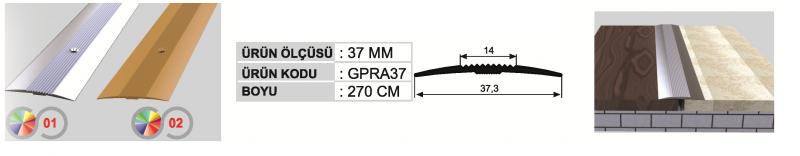 37 MM Alumiinium üleminekuliist kruviaukudega 270cm (Kollane anod.)