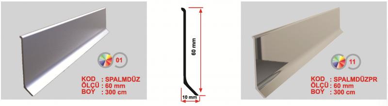 60 MM Alumiinium põrandaliist 300cm (Hele)