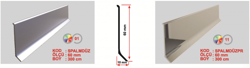 60 MM Alumiinium põrandaliist 300cm (Matt)