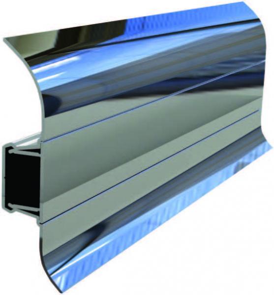 60 MM Alumiinium põrandaliist  250 cm  (Hele kroom)