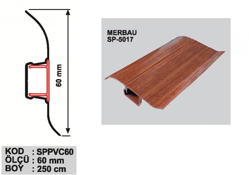 60 MM PVC Põrandaliist 250cm (Merbau)