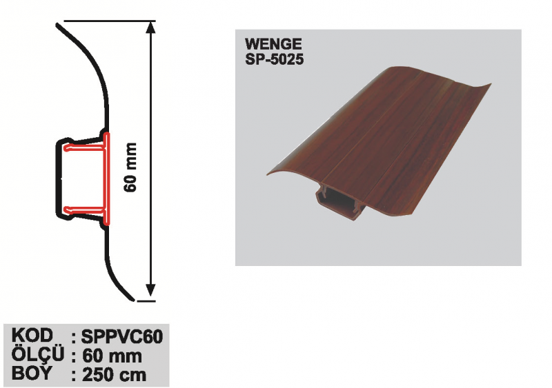 60 MM PVC Põrandaliist 250cm (Wenge)