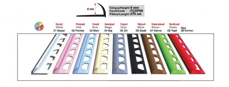 9 MM PVC välisnurgaliist 270cm ( Roosa )