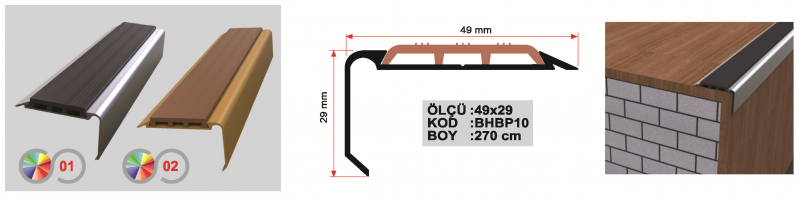 PVC ribaga astmeliist laminaadile (Matt anod.)