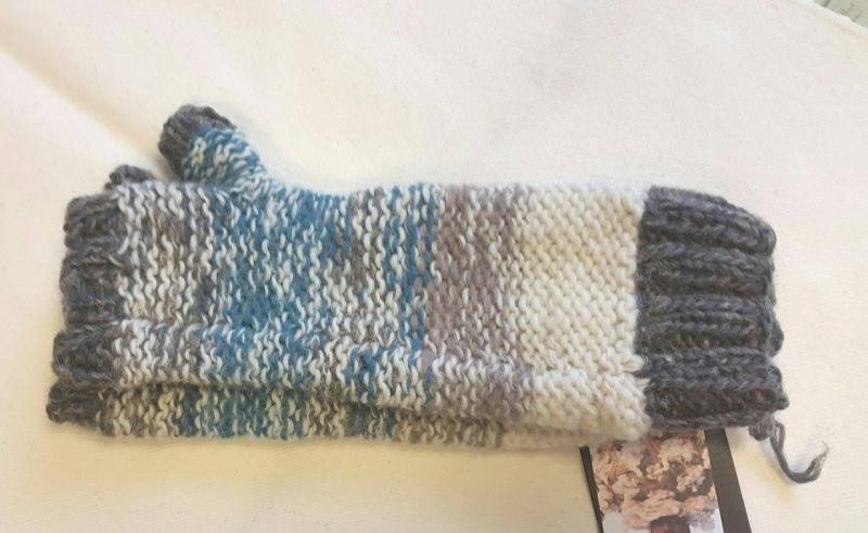 Twist Yarn Long Fingerless Mittens