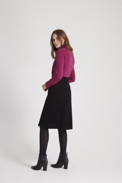 Organic Roll Neck Top, burgundy