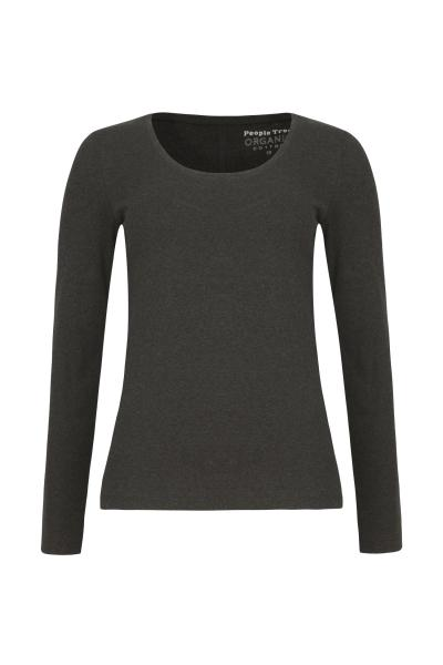 Organic Long Sleeve Scoop Top, darkgrey melange