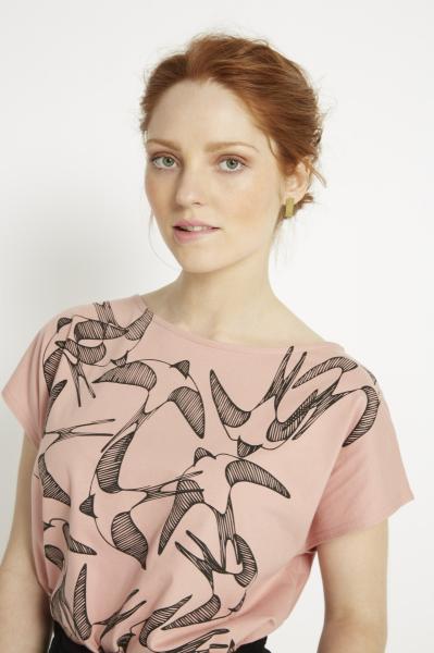Swallows Print Tee, pink