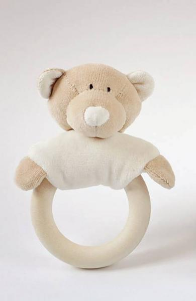 Rattle with wooden teether - Teddy