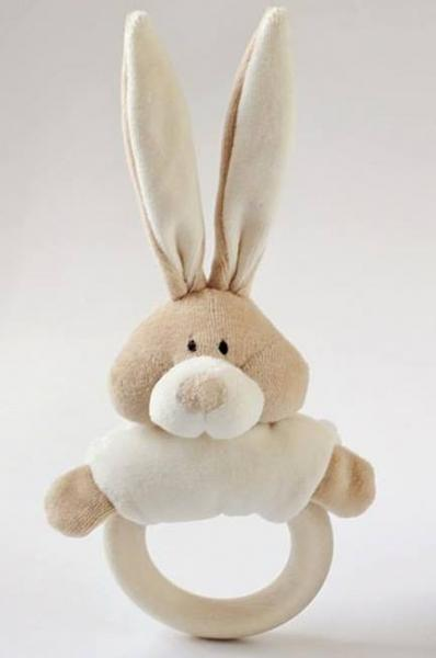 Rattle with wooden teether -Bunny