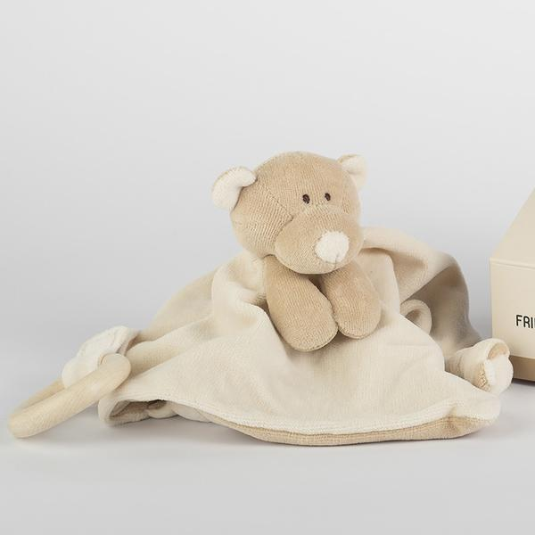 Comforter with wooden teether - Teddy