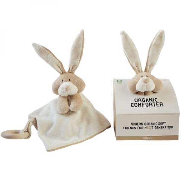 Comforter with wooden teether - Bunny