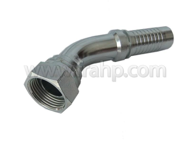 BSP 45º Swept Elbow 60º Cone Rolled Nut