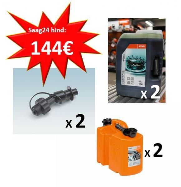 Seguõli STIHL HP Ultra 5L x 2 + Kanister kombi 5L/3L x 2 + Kanistri kiirtäiteklapp kütusele x 2