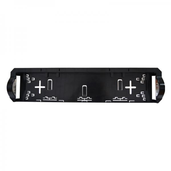 Number plate holder with integrated LED number plate lamps.