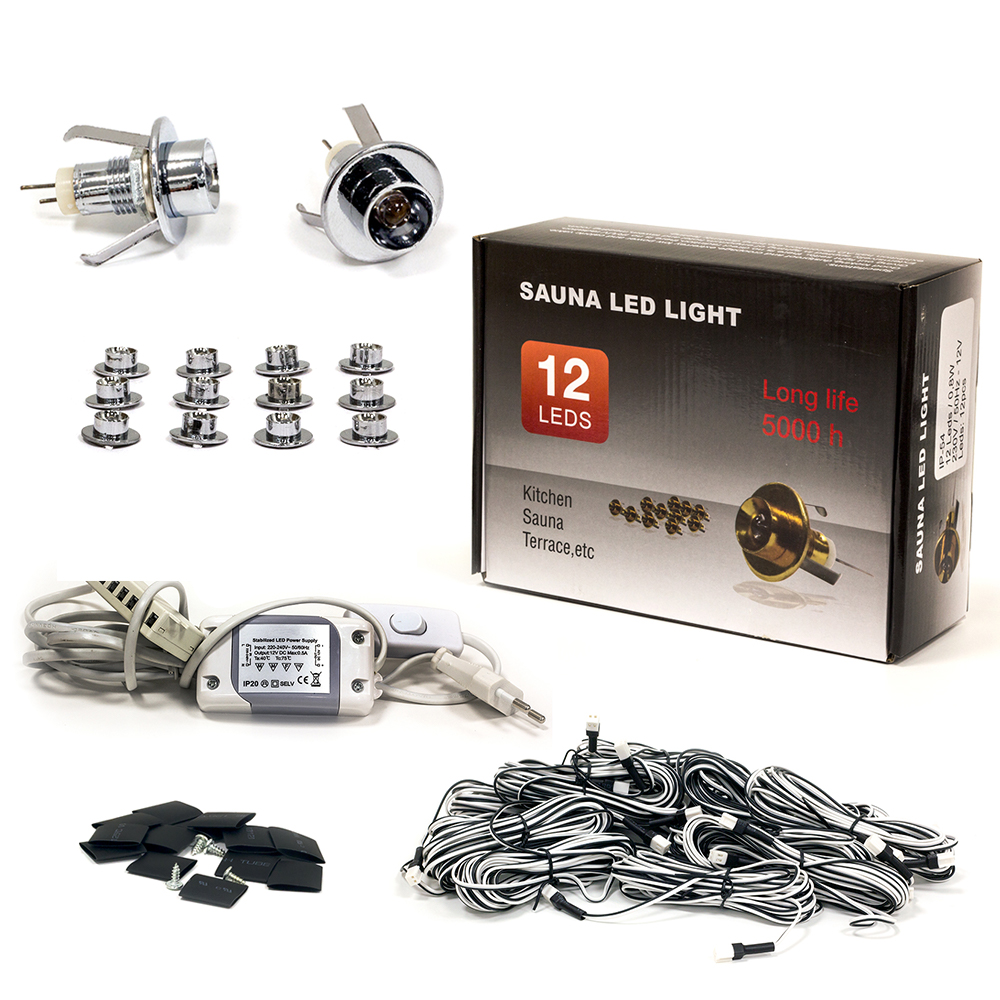 Sauna Led Light Set, 12 Silver Bulbs without Lens, Warm White Light