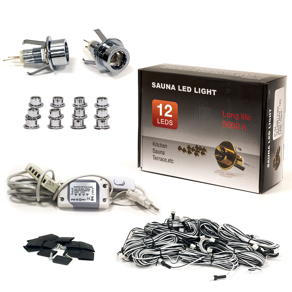 Sauna Led Light Set, 12 Silver Bulbs with Lenses, Warm White Light