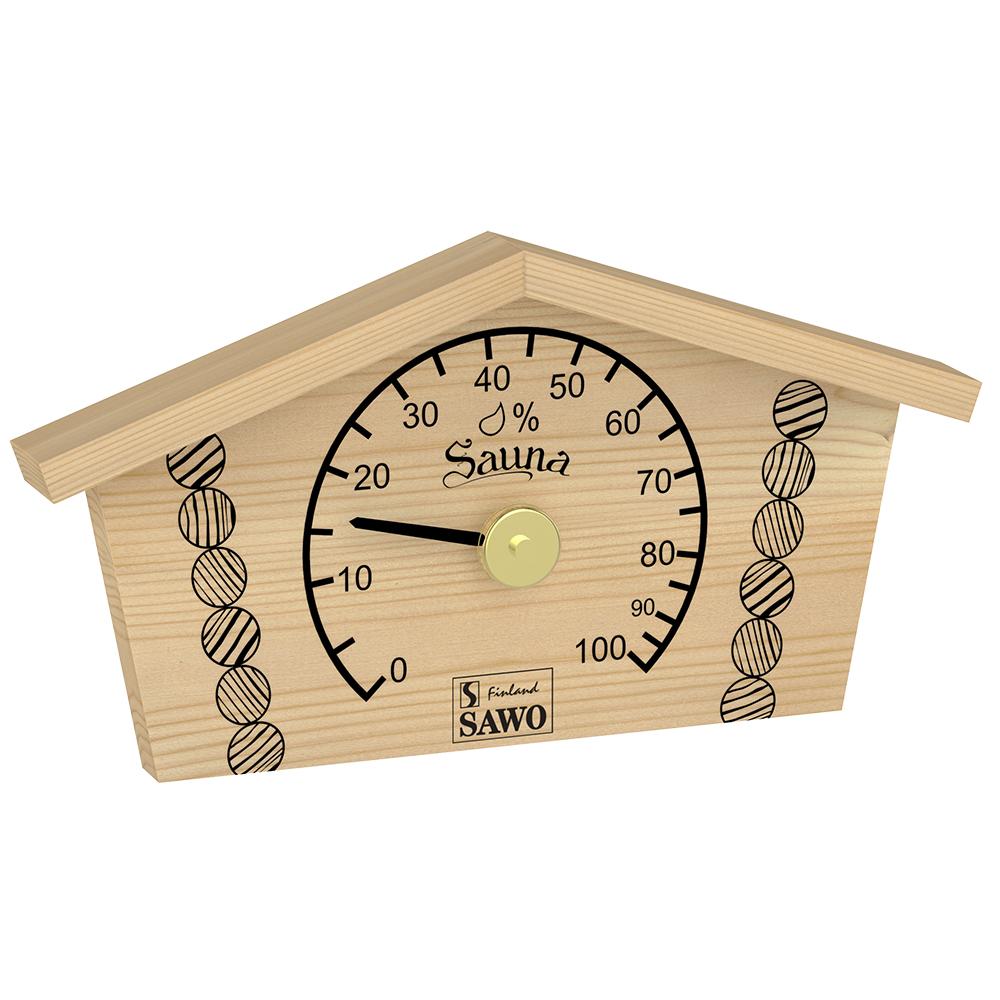 Sawo Hygrometer 145-HBP, Log house printed, Pine