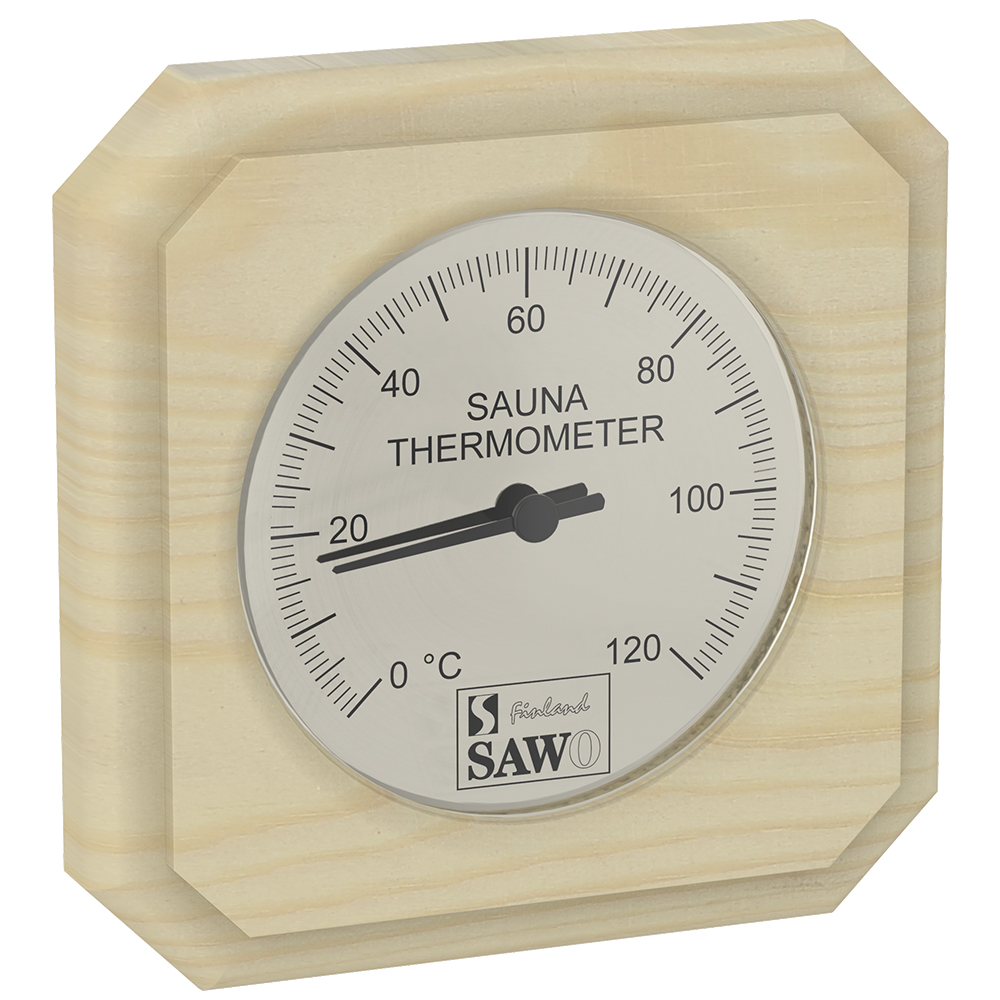 Sawo Thermometer 220-TP, Rectangular, Pine