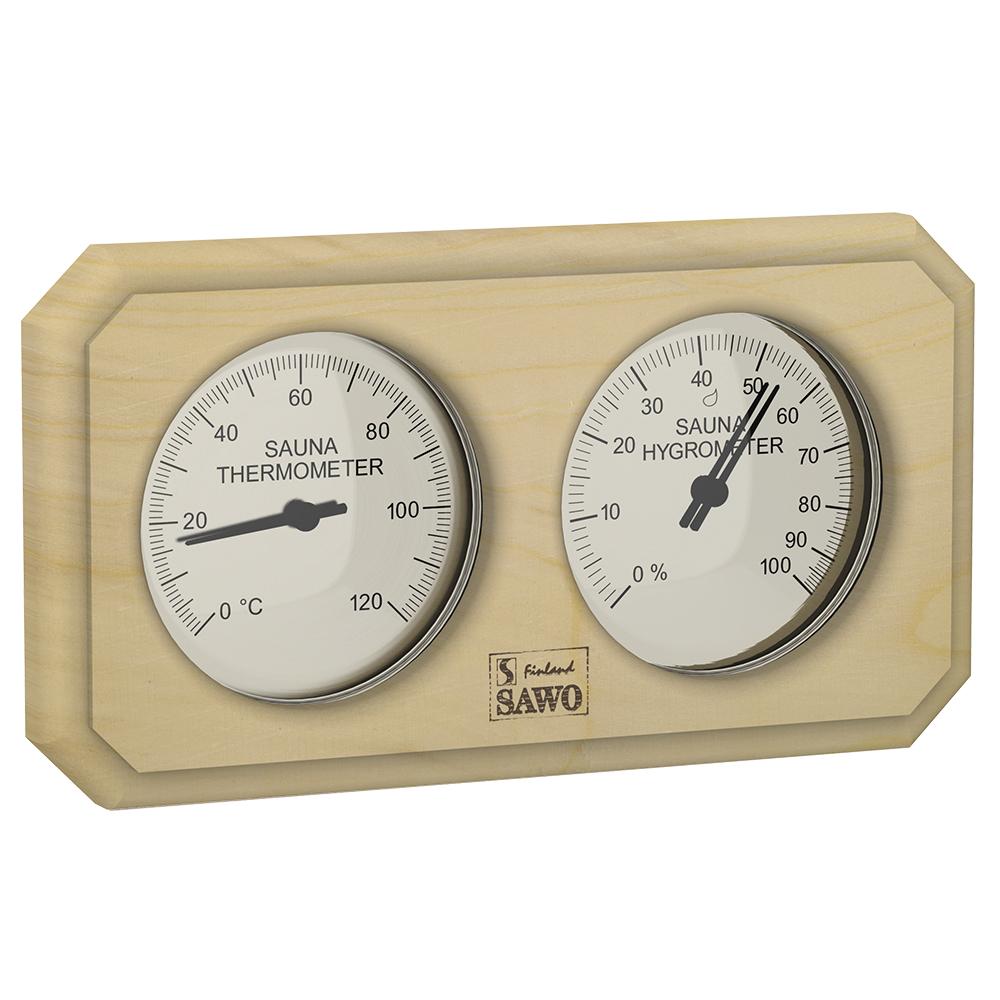 Sawo Thermo-Hygrometer 221-THP, Rectangular, Pine