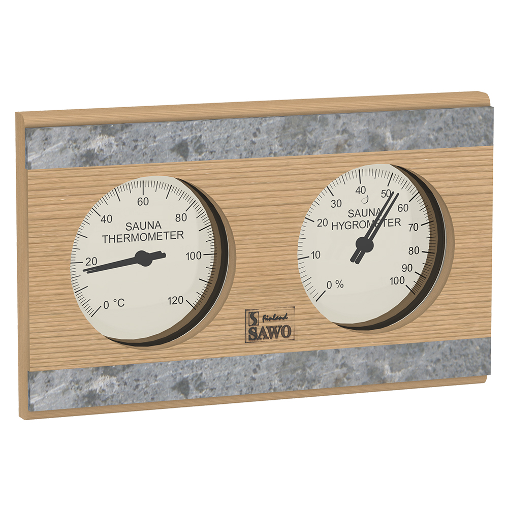 Sawo Thermo-Hygrometer 282-THRD, With stone strip, Cedar